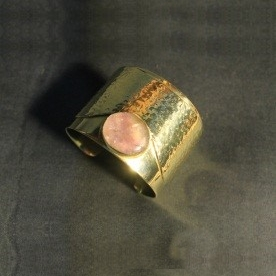 Angkor brass cuff with Cambodian natural stone