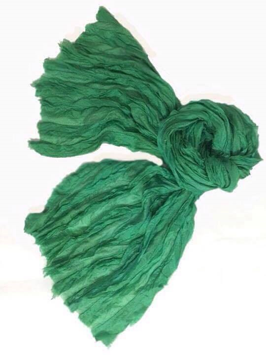 soft green tie dyed green scarf Lotus Silk