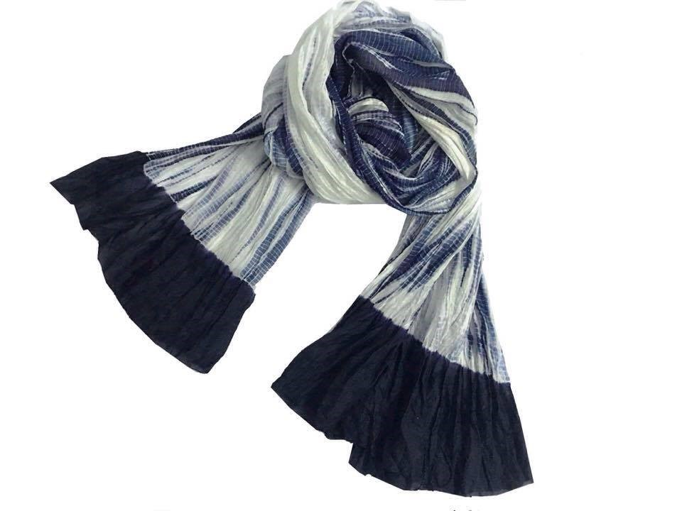 Soft silk grey black tie dyed scarf Lotus Silk