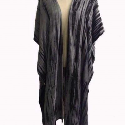 Calf length Kimono grey blue Lotus Silk